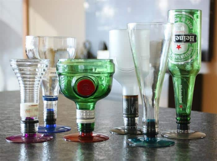 transformar garrafa de vidro em copo